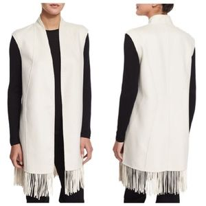 Neiman Marcus Cashmere Collection Fringe Trim Vest